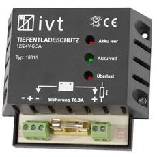 Deep Discharge Protection IVT 12 V/24 V, 6 A with battery status indicator