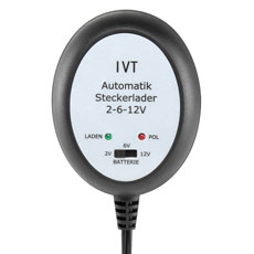 Automatic Plug-in Charger IVT 600 mA, 2 V, 6 V and 12 V